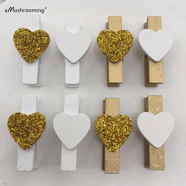 Set of 20 Gold Glitter Heart Clothespins Rustic Wedding Decor Party Decor  White Gold Party Theme St Valentine s Day Baby Showers a5d2108ed947
