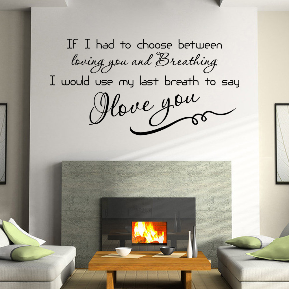 I love you quote adesivo de parede vinyl living room wall for Living room quote stickers