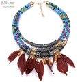 4 cores new Z colar de Cadeia de Moda feito à mão multilayer pena Colar Declaração de Luxo Colares bijoux Jóias Grosso