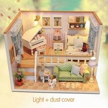DIY 3D Licht Spielzeug für Kinder Möbel Staub Abdeckung Holz Miniatur Haus Weil ICH Erfüllt Sie Puppenhaus Weihnachten Geburtstag M026