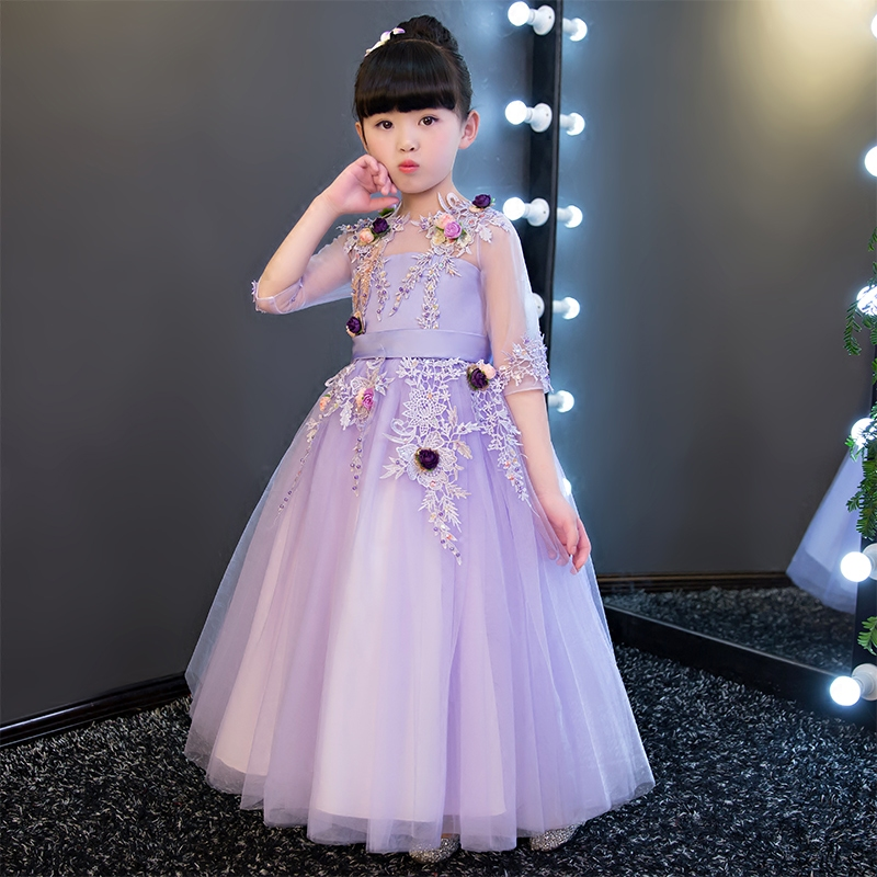 2017 New  Luxury Elegant Children Embroidery Flowers Princess Purple Dress Kids Girls Summer Birthday Wedding Party Dress 3~15ys