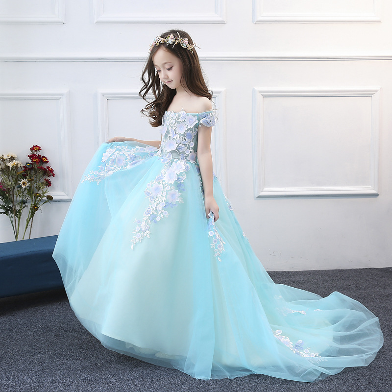 Princess children show dress princess dress girl wedding tail fluffy flower girl host catwalk girl communion dress 2018 children s catwalk tail dress large children s flower princess sequin embroidered children s dress