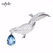 Cdyle Brooch Embellished with crystals from Swarovski Brooches For Women Bird Charms Pins And Brooches Parrure Bijoux Femme(China)