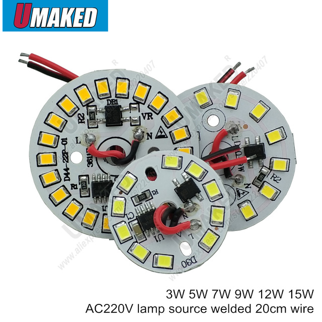 3 5 7 9 12 15W AC 220v led pcb with integrated IC driver welded 20cm wire, Warm white/ white driverless aluminum plate board