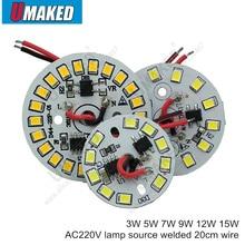 Pcb led, pilote IC intégré, fil de 20cm soudé, plaque en aluminium sans conducteur, blanc chaud/blanc, 3, 5, 7, 9, 12 15W AC, 220v