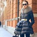 GerrySnowy Abrigo de Invierno 2016 Nuevo Cuello de Piel de Lujo de Las Mujeres ABAJO CHAQUETA Larga de Las Muchachas de la Chaqueta Parka Negro Tamaño S-XL Libre gratis