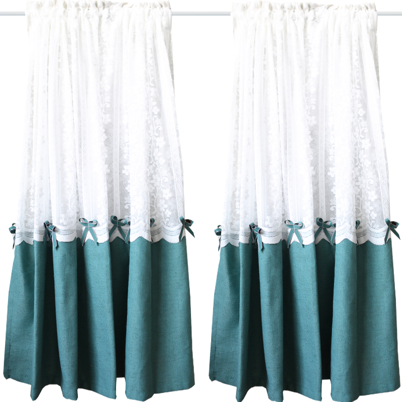 White Lace Polyester Stitching Curtain Bow Half Curtain For Kitchen Cabinet Door Modern Home Decoration Short Curtain QT046#4