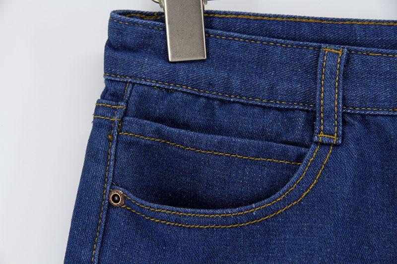Blue Crimping Denim Jeans Shorts For Women 69