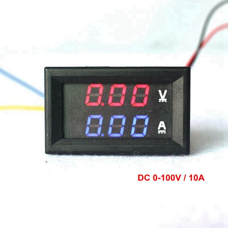 0.28 DC 0-100V 10A Digital Voltmeter Ammeter Red Blue LED Dual Display Voltage Current Indicator Monitor Detector digital dc 200v 0 10a voltmeter ammeter red blue led dual display voltage current meter detector indicator power supply dc4v 28v