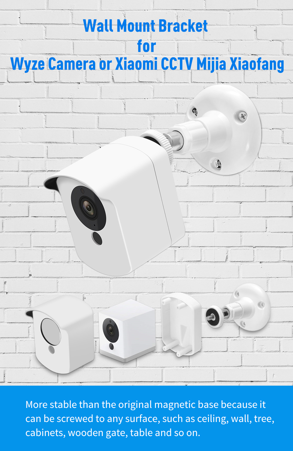 Wyze Camera Wall Mount Bracket with Protective Cover Indoor Outdoor Use for  Xiaomi CCTV Mijia Xiaofang Camera and Wyze Cam 1080p