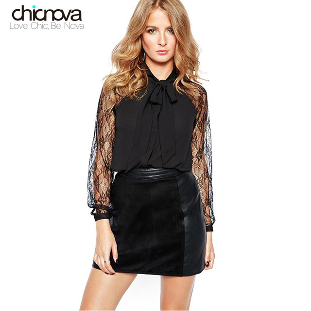 30f646b9dfe black shirt women Semi-sheer Lace long Sleeve Tie Neck Pussy Bow decoration  Blouse shirt TA02801090369