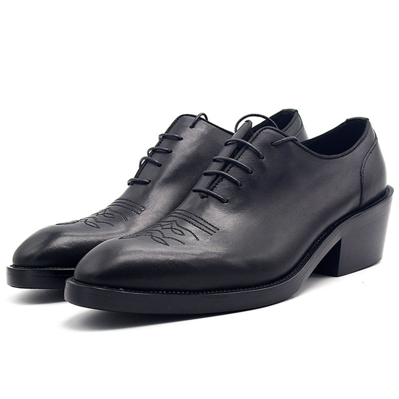 272f7c1b7cc 2019 Men High Heels Dress Shoes Fashion Increase Height 6cm Pointed Toe  Oxford Shoes for Men Luxury Black Derby Shoes Plus Size