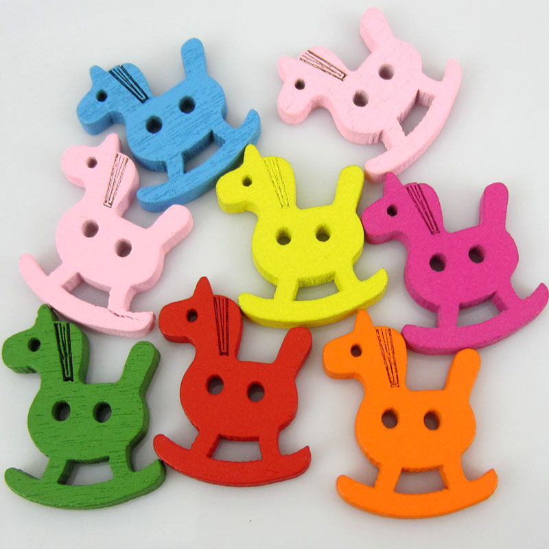 50Pcs Mixed wooden horse Pattern Wood Buttons 2-Holes Fit Sewing Scrapbooking Craft 20 x 23mm