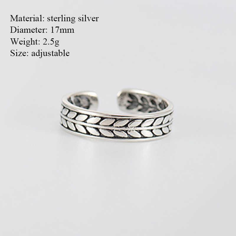 Minimalist ของแท้ 925 เงินสเตอร์ลิงแหวนเงินผู้หญิงง่ายเงิน Midi Finger Band ถักปรับขนาดได้แหวนหญิงของขวัญ