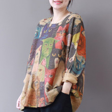 Harajuku Mori chica gato impresión suelta suéter de punto Mujer suéter  ocasional capa del suéter estilo étnico mujeres Tops Otoñ. c3ee3a67e2c8