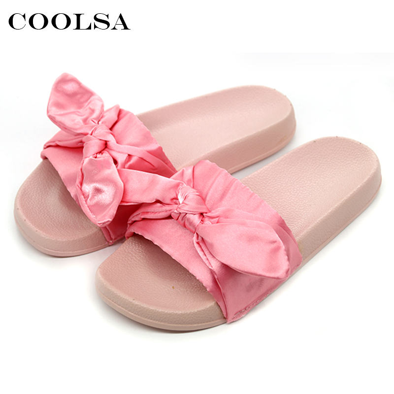 Summer Brand Women Bow Slippers Silk Fabric Cute Bowknot Slides Flat Non Slip Beach Sandals Female Indoor Flip Flop Casual Shoes 2018 summer ladies thick bottom drag slope beach shoes for women casual non slip flat bottomed slippers female slides shoes