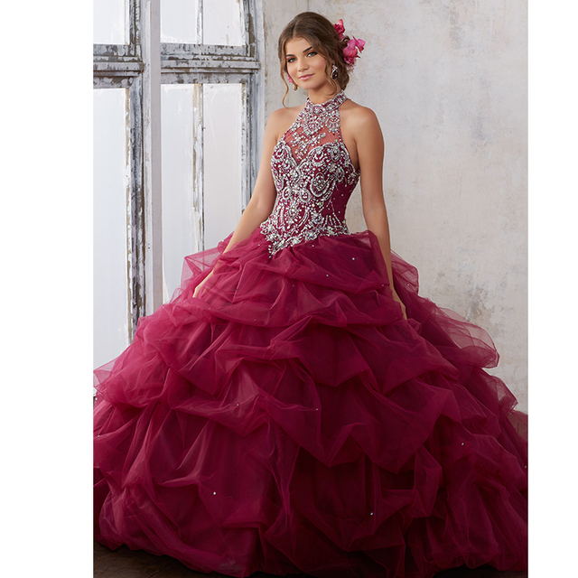 d22731672846 Jeweled Beading on a Ruched Tulle Ball Gown Fashion Halter Off the Shoulder  Burgundy Quinceanera Dresses Sweet 15 Dresses
