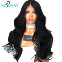xcsunny Body Wave 5*4.5 Silk Base Glueless Full Lace Human Hair Wigs Peruvian Remy Hair With Pre Plucked Natural Hairline