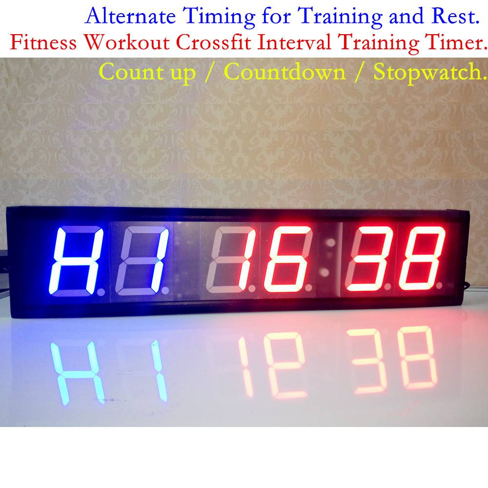 4inch fitness gym crossfit interval timer remote large led digital 4inch fitness gym crossfit interval timer remote large led digital wall clock countdown stopwatch timing for training and rest in wall clocks from home amipublicfo Images