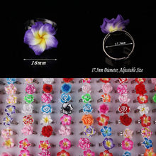Wholesale 20pcs Lot Mix Colour Flower Baby Child Girl Party Polymer Clay Finger Rings Free Shipping(China)