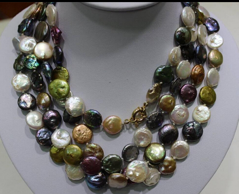 ddh003808 Long multi-color freshwater pearls necklace Coin 13-14mm 70INCH Alloy