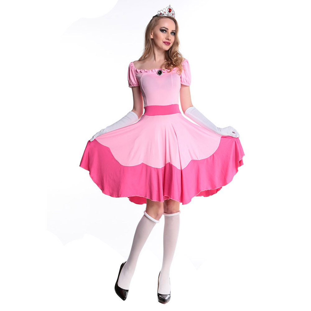 Us 19 54 15 Off Newest Deluxe Adult Princess Peach Costume Women Super Mario Brothers Party Cosplay Halloween Costumes For Women Pink Dress In Movie