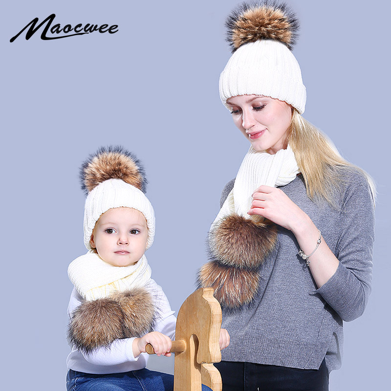 Parent-child Cap And Scarf Set Cute Kid Baby Fur Pompon Winter Knitted Hat Cap Three Nature Fur Pom Pom Balls Beanie Bones 2018