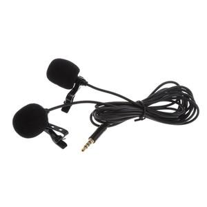 Image 2 - ميكروفون صغير لطية صدر السترة برأسين مشبك تسجيل على ميكروفون ملغي للضوضاء لهاتف iPhone iPad وسامسونج اللوحي