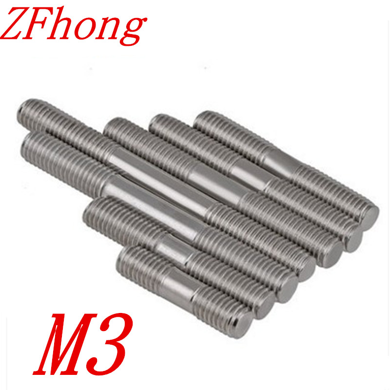 50pcs/lot Stainless steel double end threaded rods bolts M3*20/25/30/35/40/45/50/60/70/80/90/100/110/120/130/140/150/160/180/200 image