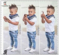 Summer Autumn Boy Clothes Set Kids Baby Boy Clothing Suit 3pcs T-Shirt Jeans Scraf Children Clothes Fashion Casual Boy Clothes