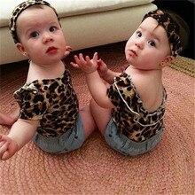 2017 Очаровательная леопардовая футболка для маленьких девочек, топы + джинсовые шорты + повязка на голову, комплект одежды из 3 предметов для ...