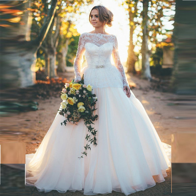 Back Open Y Princess Wedding Dresses With Long Sleeves 2017 Latest White Organza Ball Bridal Gowns