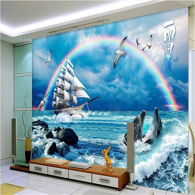beibehang Large Custom Wallpapers Summer Love Sea Seascape Background Walls Rainbow sailing background papel de parede listrado