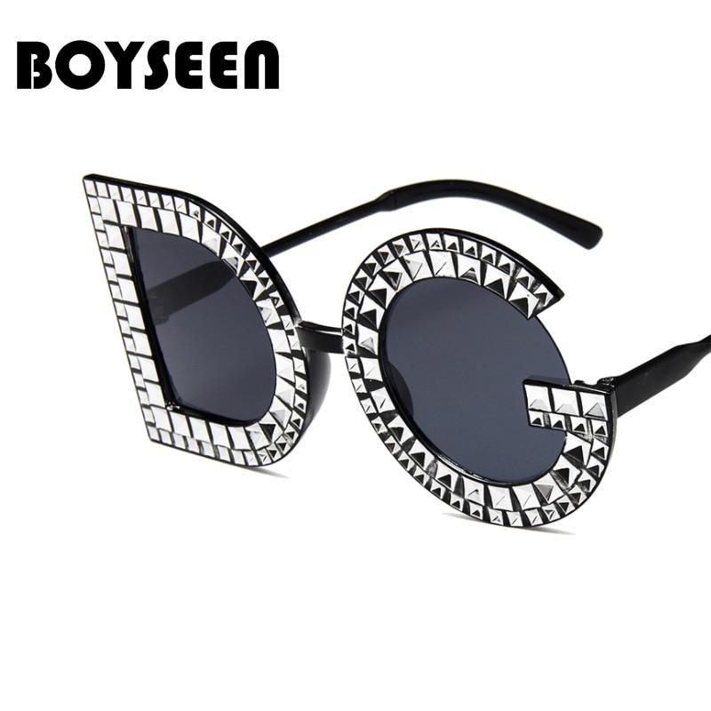 acabf3a0d2e6b BOYSEEN DG Rodada Óculos De Sol Das Mulheres Marca de Luxo óculos De Sol De  Cristal