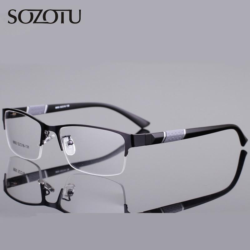 SOZOTU Marco de Anteojos Ópticos Hombres Gafas de ojos Montura de gafas para Hombre Lente Transparente Transparente Armacao de YQ076