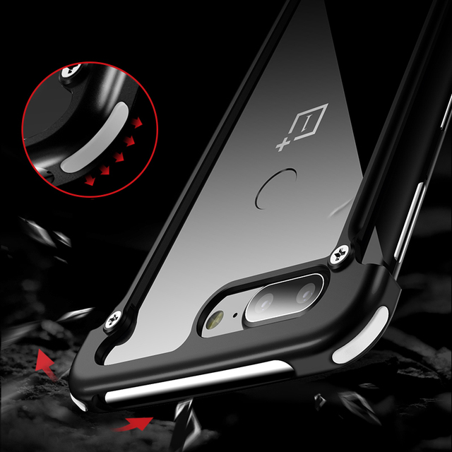 OnePlus 6 5T Luxury Shockproof Metal Bumper Airbags Back Case Cover