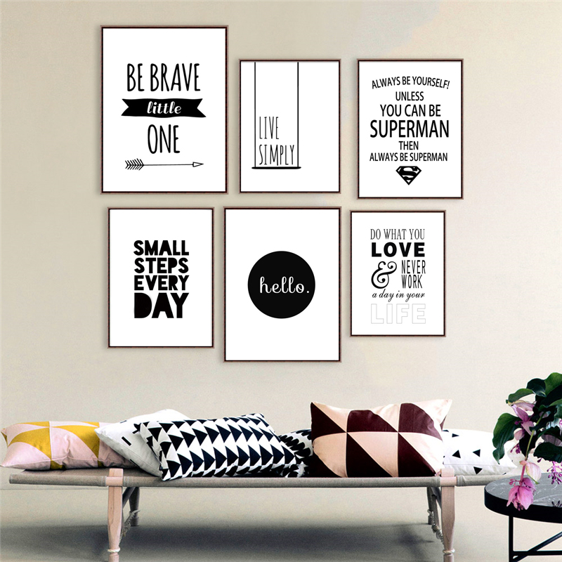 Six Style Inspiring Quotes No Frame Nordic Canvas Painting
