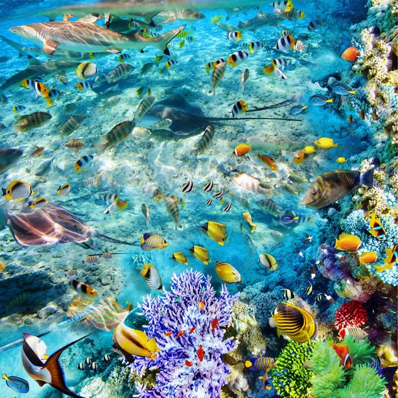 Image 4 - Custom Flooring Mural Wallpaper Undersea World Fish Coral Toilets Bathroom Bedroom 3D Floor Murals PVC Waterproof Self adhesive-in Wallpapers from Home Improvement