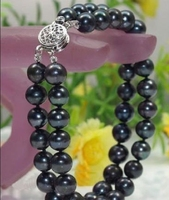 Fine 2 STRANDS 9 10MM SOUTH SEA BLACK PEARL BRACELET 7.5 8 INCH >>free shipping Bride jewelry free shipping