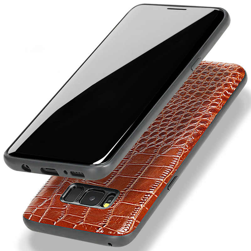 Cep telefonu kılıfı için Samsung S8 timsah derisi yukarı ve aşağı doku Samsung Not 8 9 S9 S10 A5 7 8 j5 6 telefon arka kapak