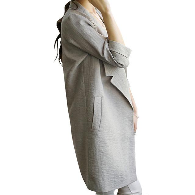 Female Long Linen Open Stitch Blazer Womens High Quality Spring Summer Three Quarter Sleeve Solid Lapel Suit  Cardigan Jacket