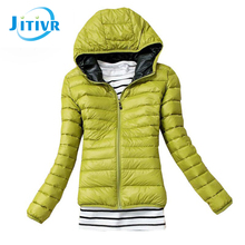 2016 Newest Jitivr Faddish Women's European Style Fashion Hooded Slim Cotton Jacket Solid Warm Female Coat Autumn Winter 5 Color
