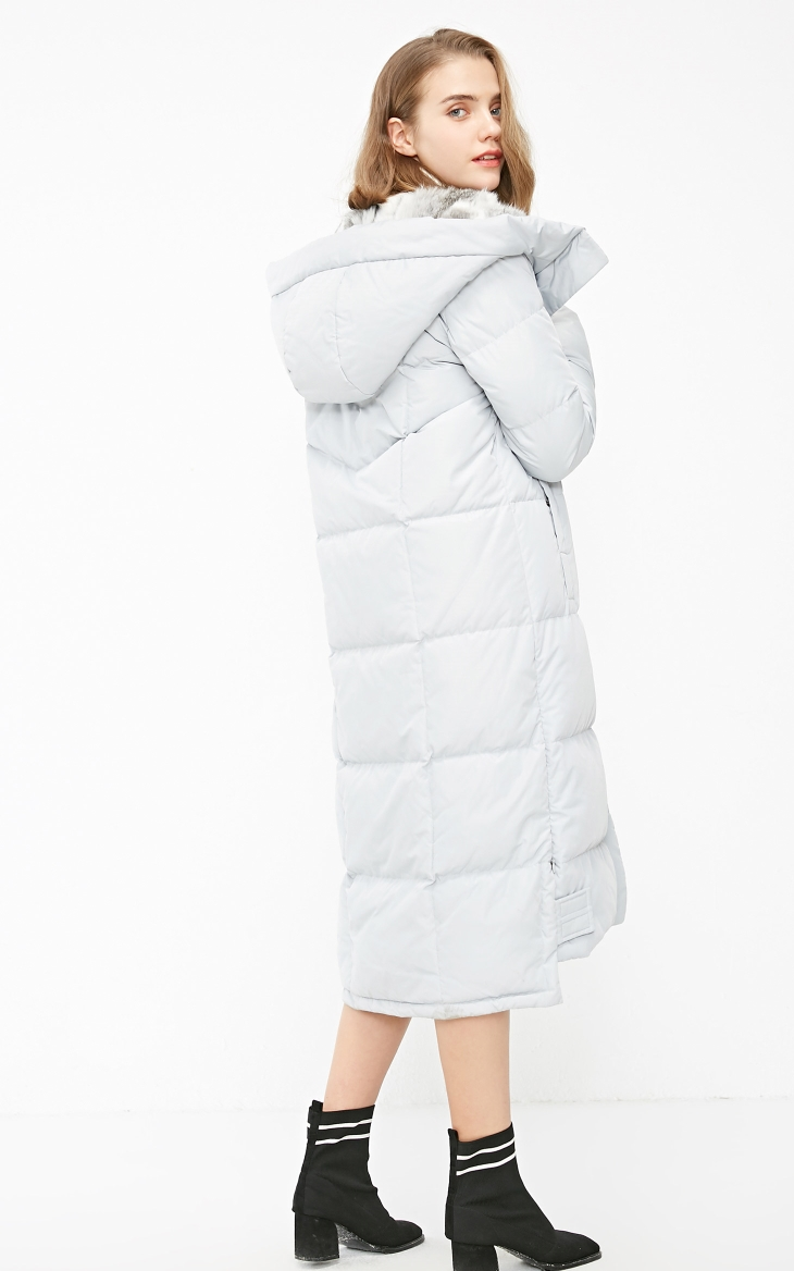 Vero Moda new detachable rabbit fur hooded long down jacket women | 318312503 23