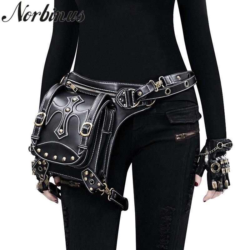 Norbinus Steampunk Women Waist Bags PU Leather Rivet Men Motorcycle Bag Female Crossbody Shoulder Holster Bag Thigh Leg Packs