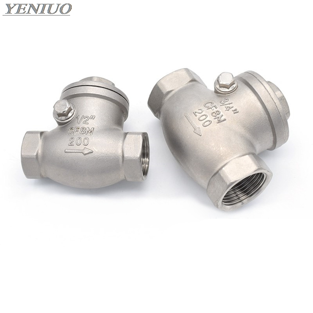 Stainless Steel Wire Mouth Horizontal Non-return Valve 304 Stainless Steel Female Thread Swing Check Valve 1/2