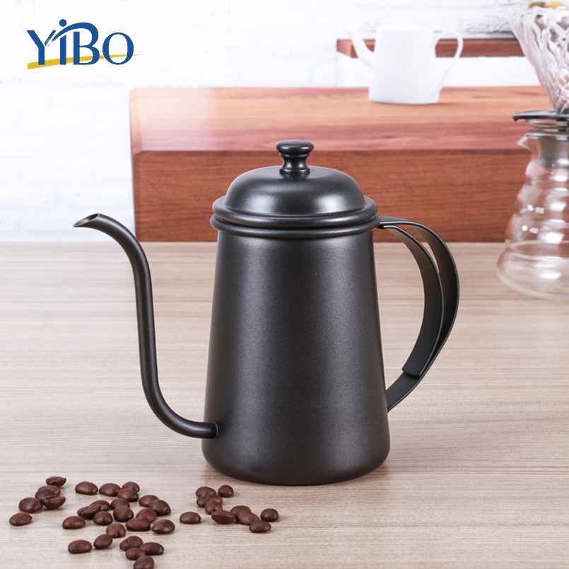 Stainless Steel Hand Drip Coffee Kettle Pot 650ml Coffee Flask Spout Kettle Plating Colorful Slender Mouth Telfon Coating TeaPot