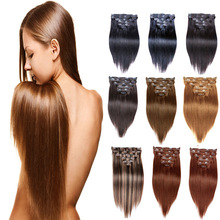 Clip In Human Hair Extensions 120G 220G Brazilian Straight Hair Clip In Hair Extensions 16″-26″ Piano Color 27/613 Clip Ins