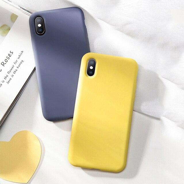 ของเหลวสำหรับ iPhone XS ซิลิโคนหรูหราสำหรับ iPhone 7 8 Plus 6 6 S Plus XR XS max Candy สี Fundas Coques Capas