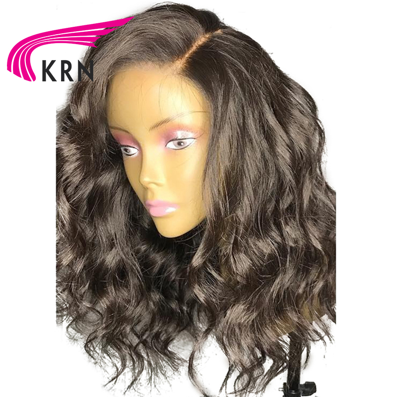 KRN Short Wavy Lace Front Human Hair Wigs With Baby Hair 130 Density Remy Hair Pre Plucked Brazilian 13X6 Lace Front Wigs