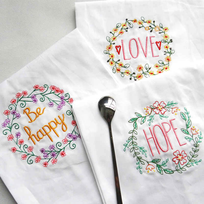 New 2018 Hot Embroidery Wedding Serviette Absorbent Cotton Concise Upscale Home Cloth Table Napkin Kitchen Use Handkerchief